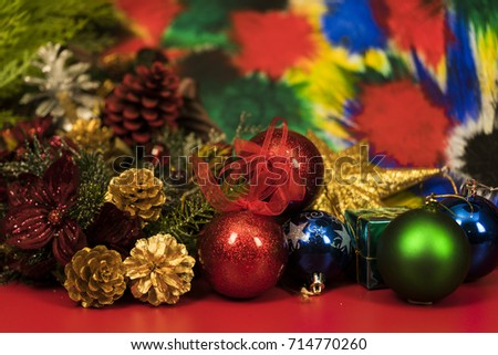 Colorful background for Christmas decoration./ Christmas decoration. #714770260