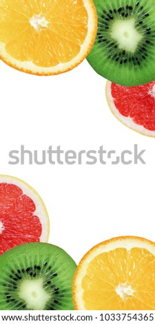 Colorful background from exotic  fruit. Kiwi, orange and grapefruit slices.  #1033754365