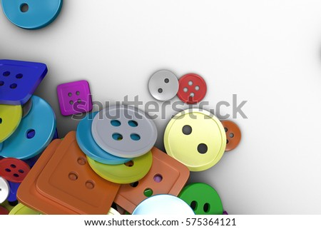 Colorful background made from sewing buttons. Pile of buttons isolated on white background. 3D render illustration #575364121
