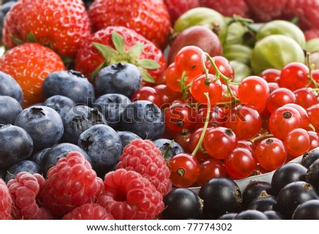 colorful background of mix ripe berries - stock photo