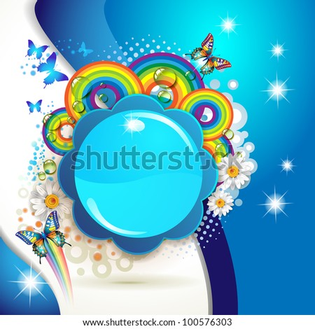 Colorful background with butterflies and drops over colored circles