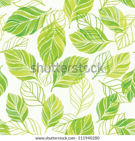 Colorful background with leaves, drawing watercolor. Seamless pattern for your design wallpapers, pattern fills, web page backgrounds, surface textures.