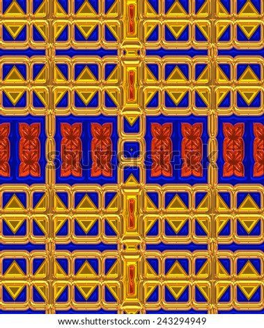 Colorful background with unique patterns and Egyptian motif. Cobalt blue, gold and ruby red all come together to create an original background, great for adding color to any web theme or project.