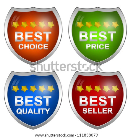 Colorful Badge Sticker For Marketing Campaign With Best Choice, Best Price, Best Quality and Best Seller Isolated on White Background