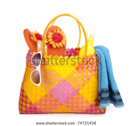 colorful bag with beach items