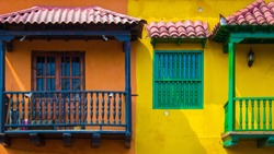 Colorful balconies in the walled city, Cartagena, Colombia