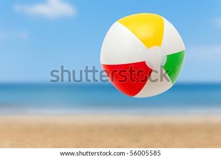 Colorful ball on a sandy beach