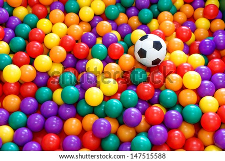 colorful ball with football in a playground