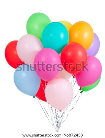 colorful ballons bunch isolated on white background - stock photo