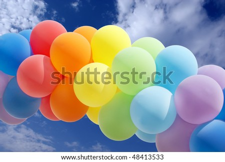 Colorful balloon forming a archway