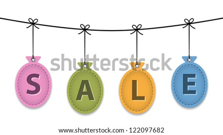 Colorful balloon leather labels with the word sale like Christmas baubles. Price tags