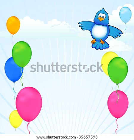 Colorful balloons and a blue bird decorate a modern sky. Celebrate birthdays