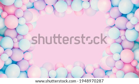 Colorful balloons background, punchy pink and mint pastel colored and soft focus. Party festive balloons photo wall birthday decoration for children. Background for wedding, anniversary, birthday. Foto stock ©