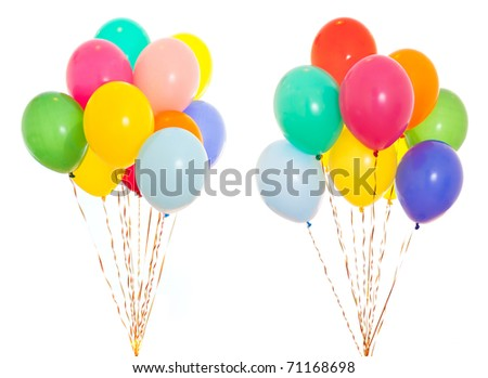 colorful balloons bunch filled with helium isolated on white