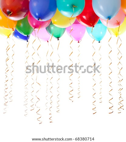 colorful balloons filled with helium and with golden streamers isolated on white