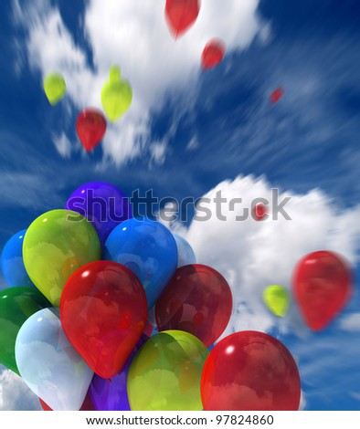 colorful balloons flying in the sky in motion