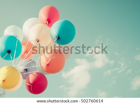 colorful balloons. happy birthday party in summer holidays - vintage pastel color styles. #502760614