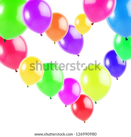 colorful balloons heart shaped, isolated on white