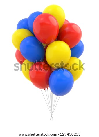 Colorful Balloons isolated on white. Design element