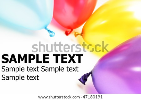 Colorful balloons on a white background with copy space and sample text