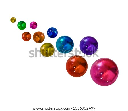 Colorful Balls, Decoration Isolated on White Background, Multicolored Realistic Spheres. #1356952499