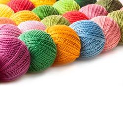 Colorful balls of cotton yarn
