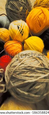 Colorful balls of wool thread Stok fotoğraf ©