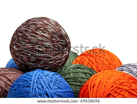 Colorful balls of yarn, close-up