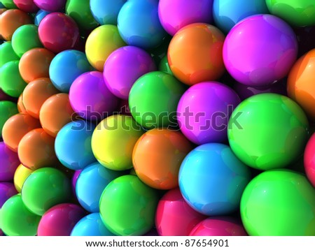 colorful balls with slightly depth of field