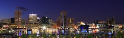 Colorful Baltimore skyline and Inner Harbor at dusk, USA