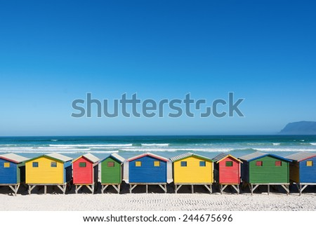 Colorful bathhouses at Muizenberg, Cape Town, South Africa, standing in a row. #244675696