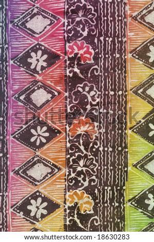 Colorful batik sarong with geometric pattern