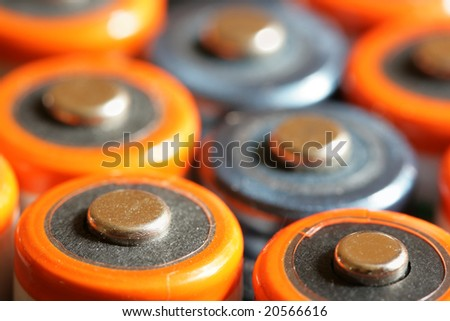 Colorful batteries close-up. Shallow DOF!