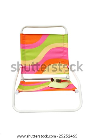 colorful beach chair with visor and sunglasses isolated on white background with clipping path
