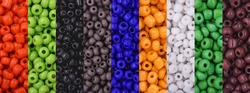 Colorful Beads Background. Background pattern of multicolor beads.Palette of colors beads.