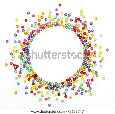 Colorful beads, circle shape space for photo or text isolated on white background