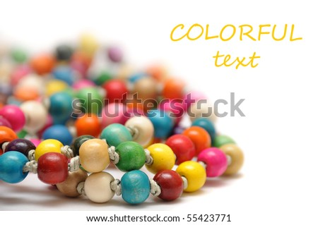 colorful beads on white background - stock photo