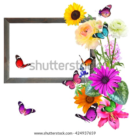 Colorful beautiful flowers and butterflies with blank wooden frame (for photo, picture or text). Nature and art abstract. With copy space is available. Isolated on white