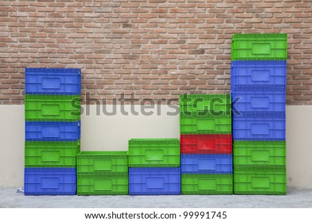 Colorful beer crates - stock photo