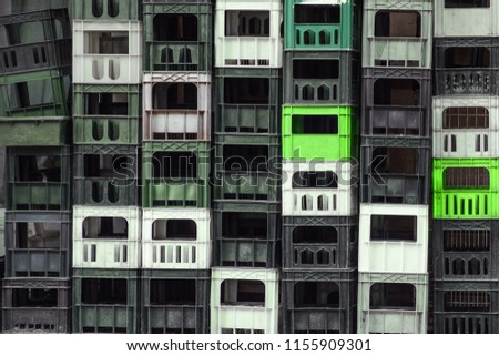 Colorful Beer Crates Background. Stacked Multicolored Plastic Beer Crates as Background #1155909301