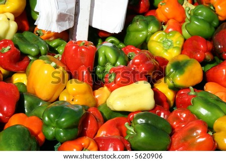 Colorful Bell Peppers at a Farmers Market in Michigan