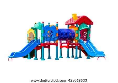 colorful big plastic toy set for children school or park playground, isolated on white. #425069533