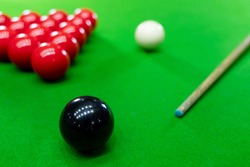 Colorful Billiard and snooker ball pool game at blue table, Relaxation sport and Happiness Concept