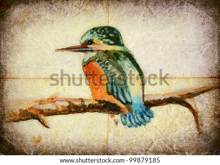 Colorful bird of our area. Tempera painting on an old paper sheet. THE KINGFISHER