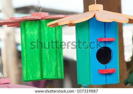colorful birdhouse.