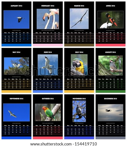 Colorful birds english calendar for 2014 in black background