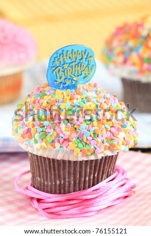 Colorful birthday cupcake