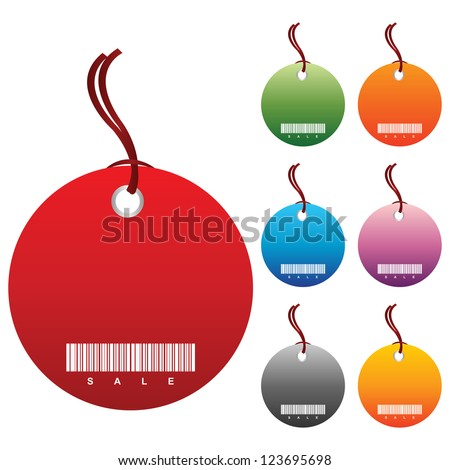 Colorful Blank Circle Price Tag Isolated on White Background