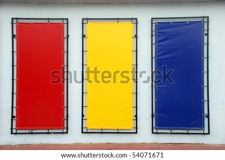 colorful blank signs with a copy space area
