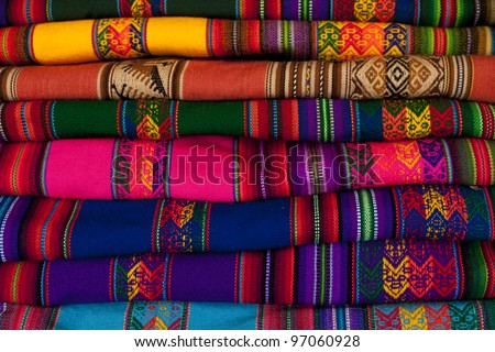 Colorful blanket in Peru